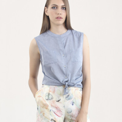 blusa azul lisa Argot y Margot